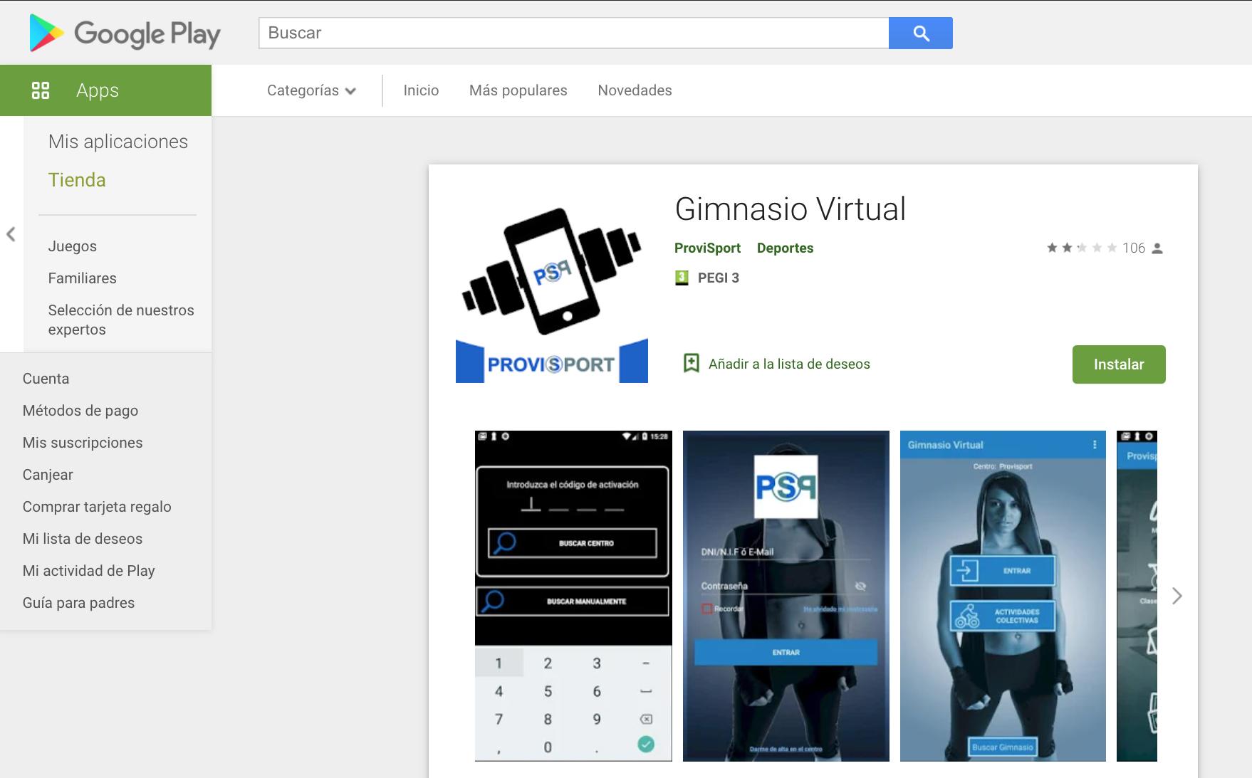 Vista de la aplicación Gimnasio Virtual en Google Play