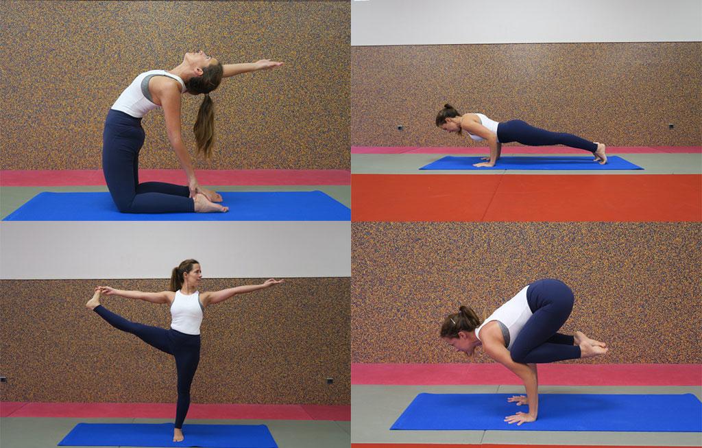 profesora hace cuatro posturas de yoga distintas